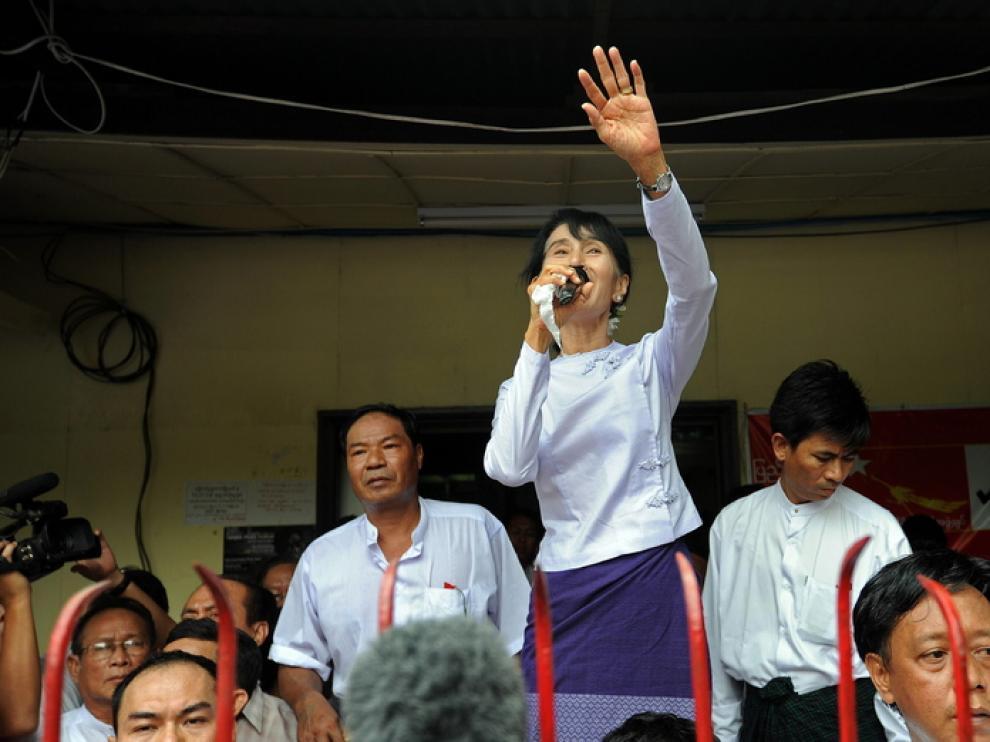 La ganadora de las elecciones, Aung San Suu Kyi