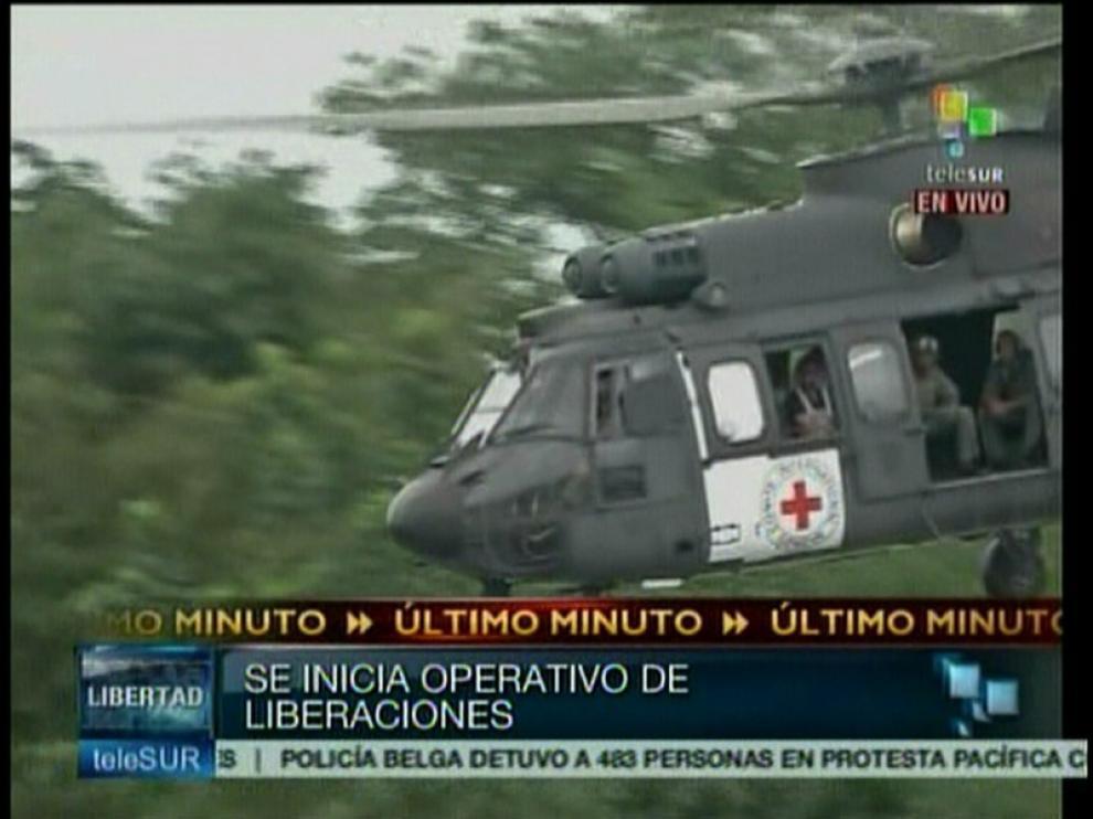 Imágenes ofrecidas por Telesur del inicio de la operación de resctate