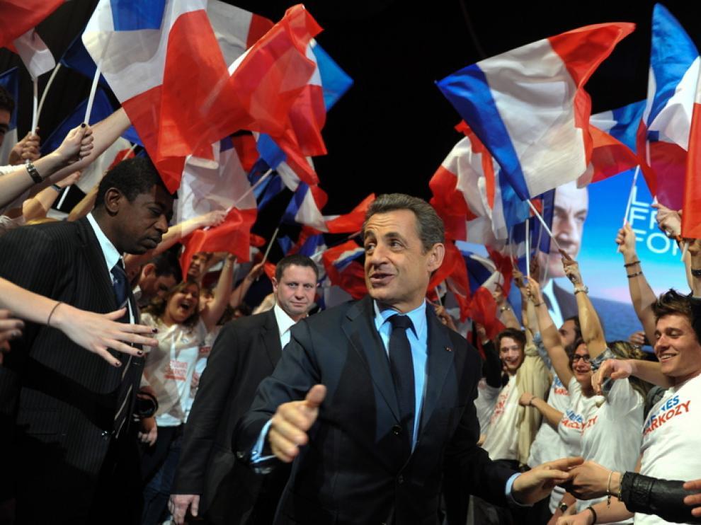 Sarkozy, durante un acto de su campaña
