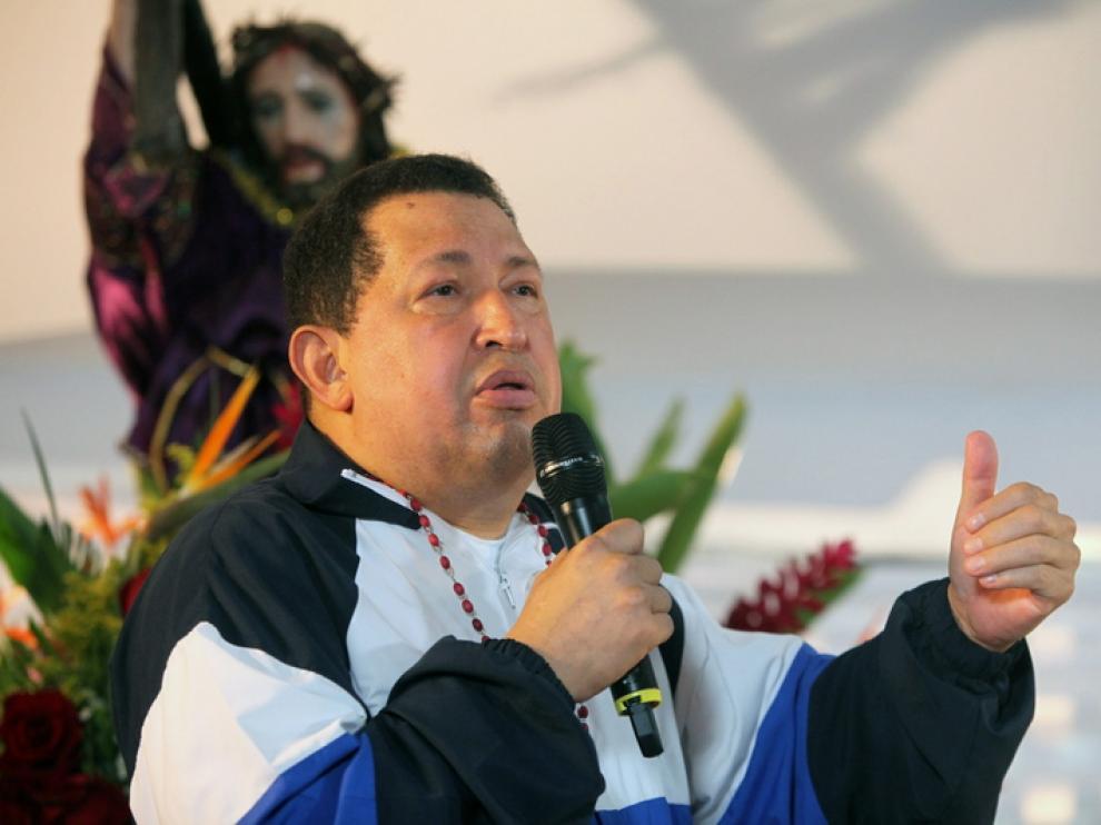 Chávez, durante la misa en Caracas