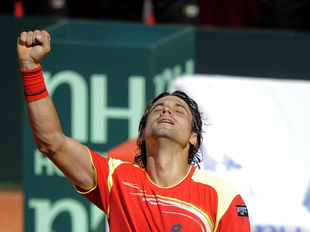 David Ferrer celebra su triunfo