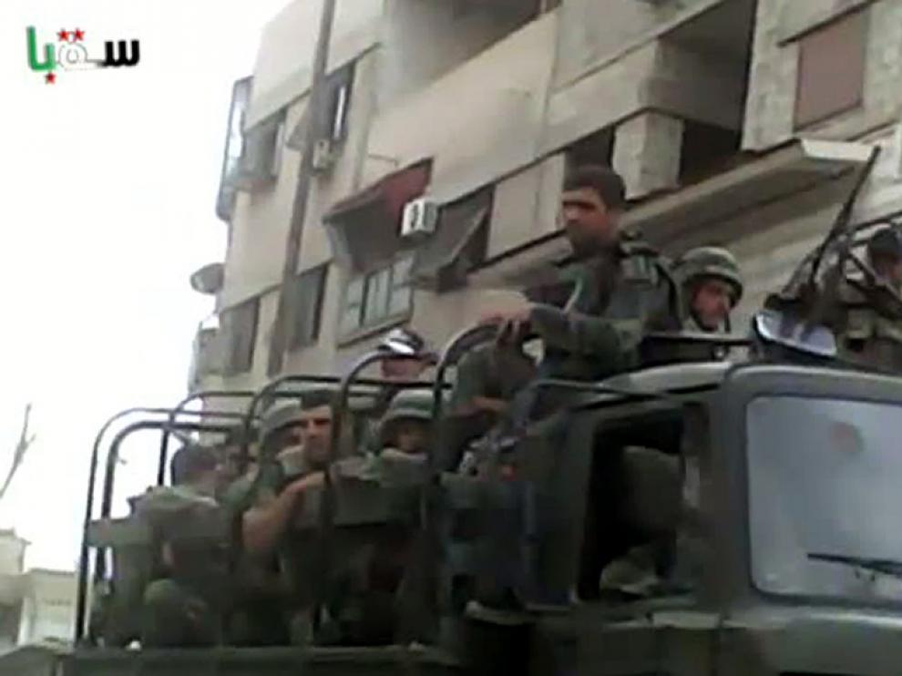 Imagen de este sábado de militares sirios