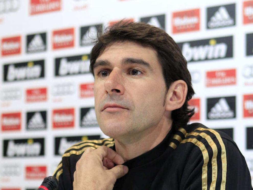 El segundo entrenador del Real Madrid, Aitor Karanka, en la rueda de prensa previa al encuentro ante el Atlético.