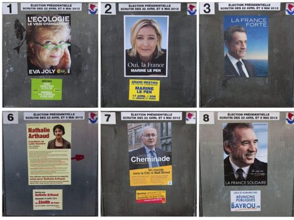 Combo de fotografías que muestra los carteles electorales de los candidatos a la presidencia de Francia.