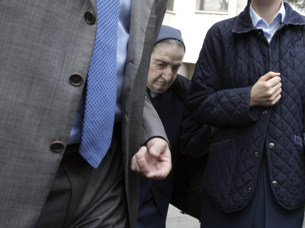 Sor María a su llegada a los juzgados