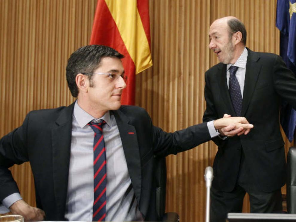 Eduardo Madina, junto a Rubalcaba