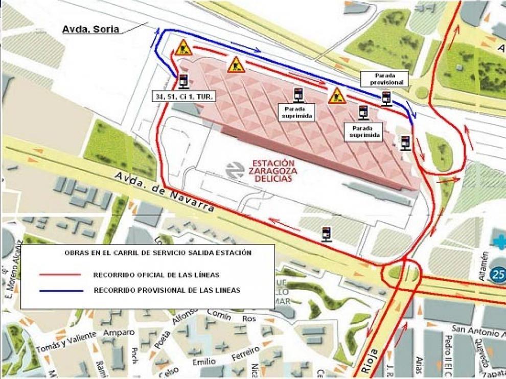 Mapa de las modificaciones en el tráfico