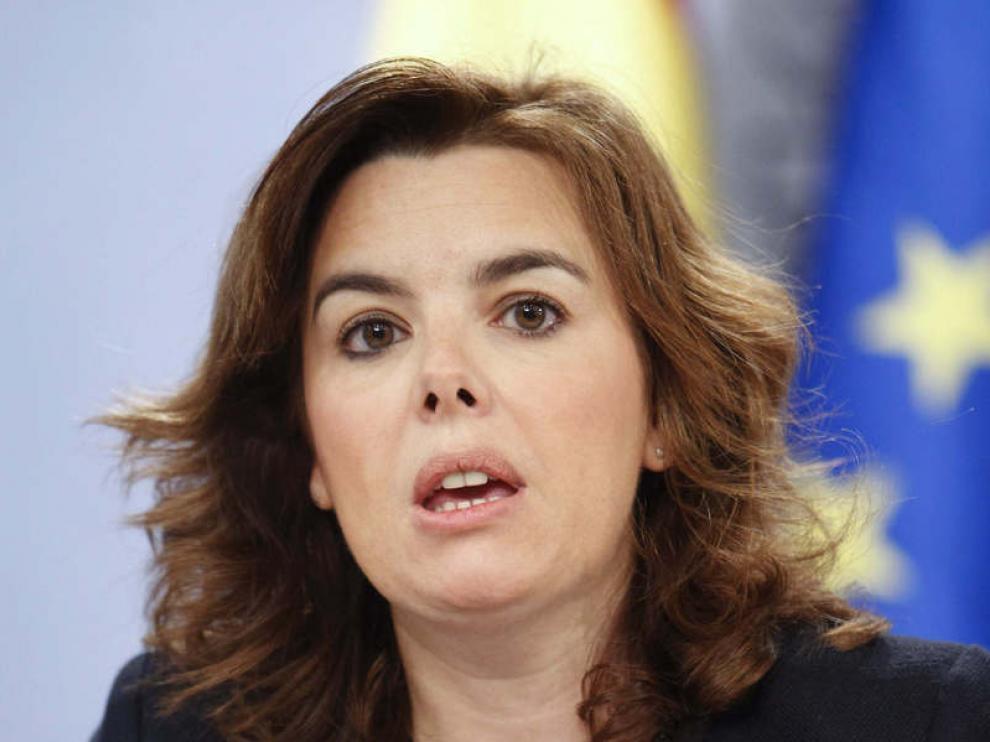 Soraya Sáenz, en rueda de prensa