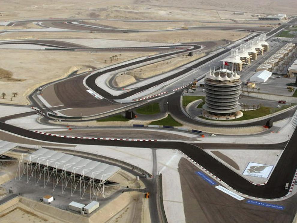 El circuito de Bahréin, desde el aire.