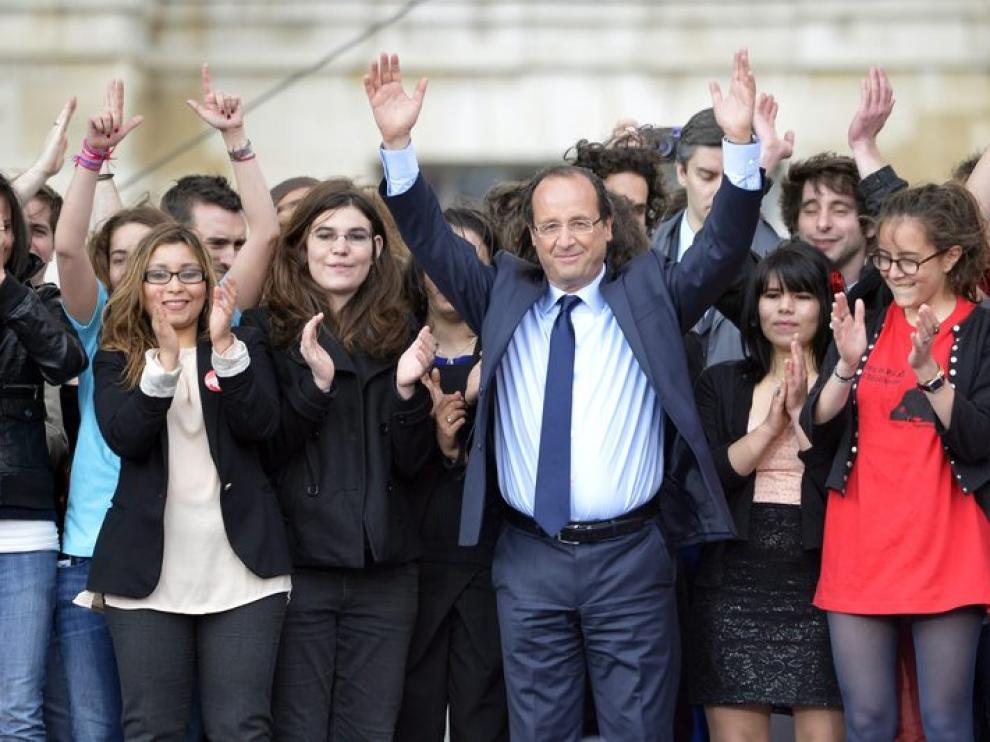 François Hollande durante su mitin en Vincennes.