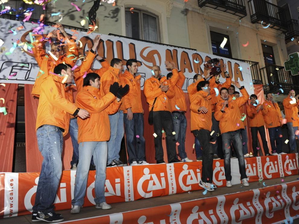 Celebraciones en Teruel por la victoria del Caja 3