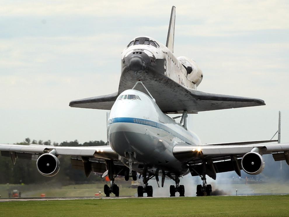 El transbordador Discovery en su último vuelo