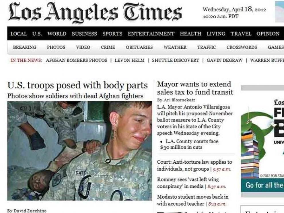 Portada de la edición digital de Los Ángeles Times