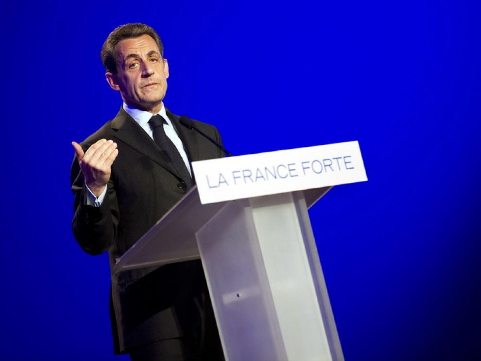 El presidente francés Nicolas Sarkozy durante un acto electoral.