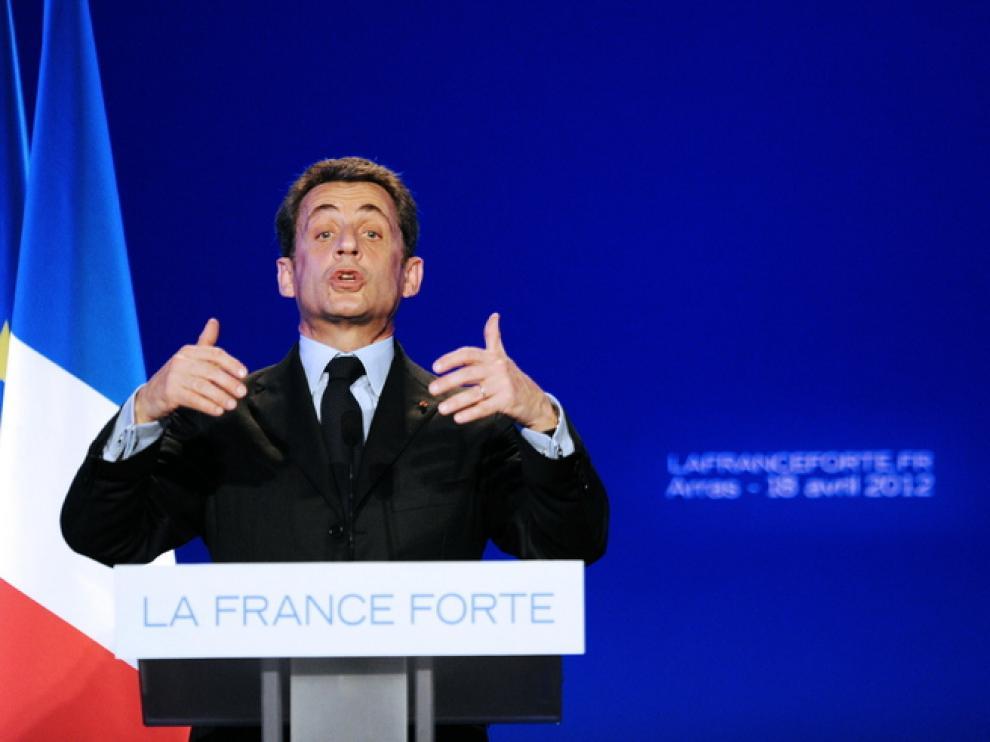 Sarkozy en su discurso de campaña