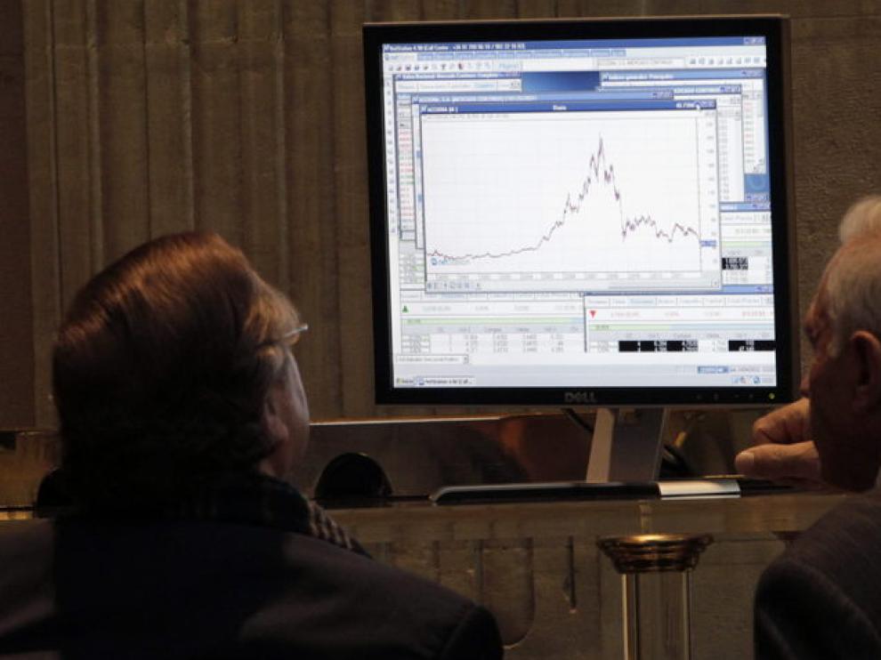 Panel del Ibex 35, este jueves en la Bolsa de Madrid
