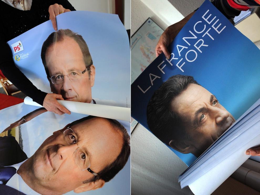Fotografía tomada en mazo durante la campaña electoral de los candidatos franceses.