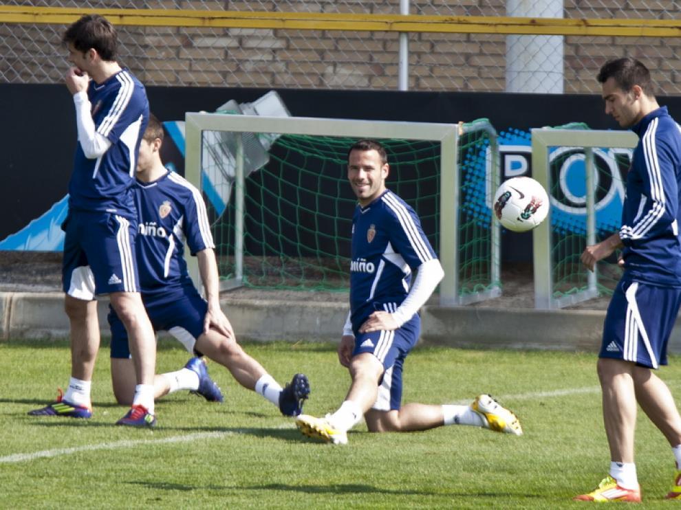 Imagen de un entrenamiento del Real Zaragoza.