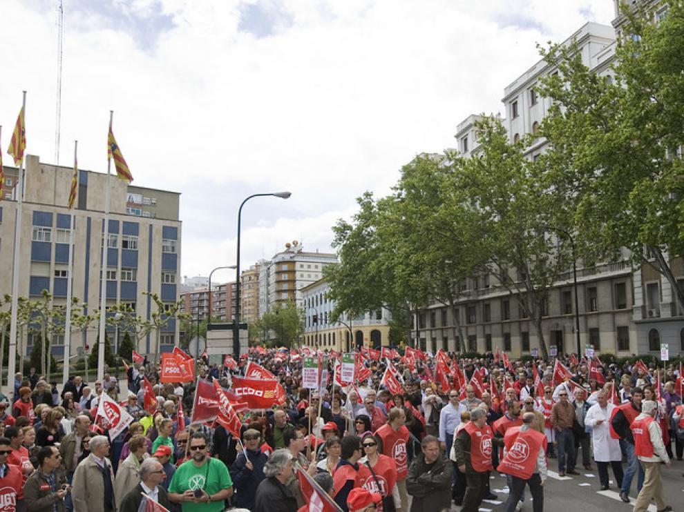 Protesta contra los recortes, en Zaragoza