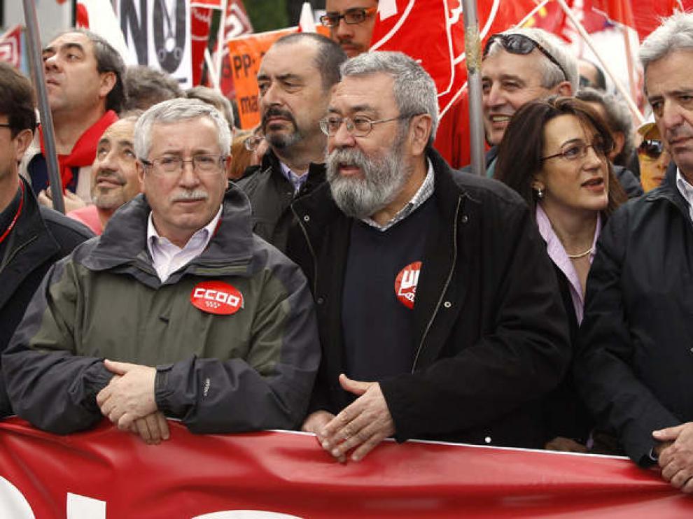 Toxo y Méndez, en la manifestación de Madrid