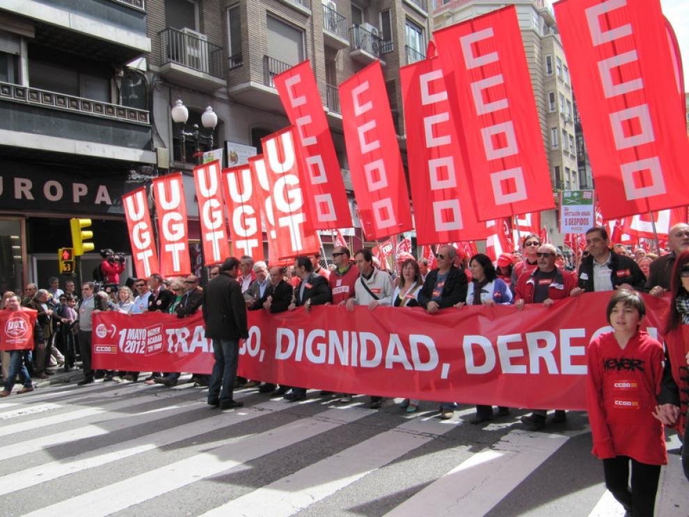 Cabecera de la manifestación de Zaragoza, en el Coso