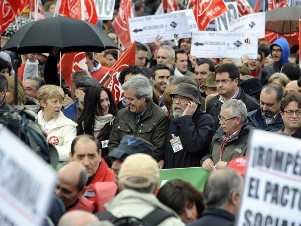 Los líderes sindicales en las movilizaciones del día 29