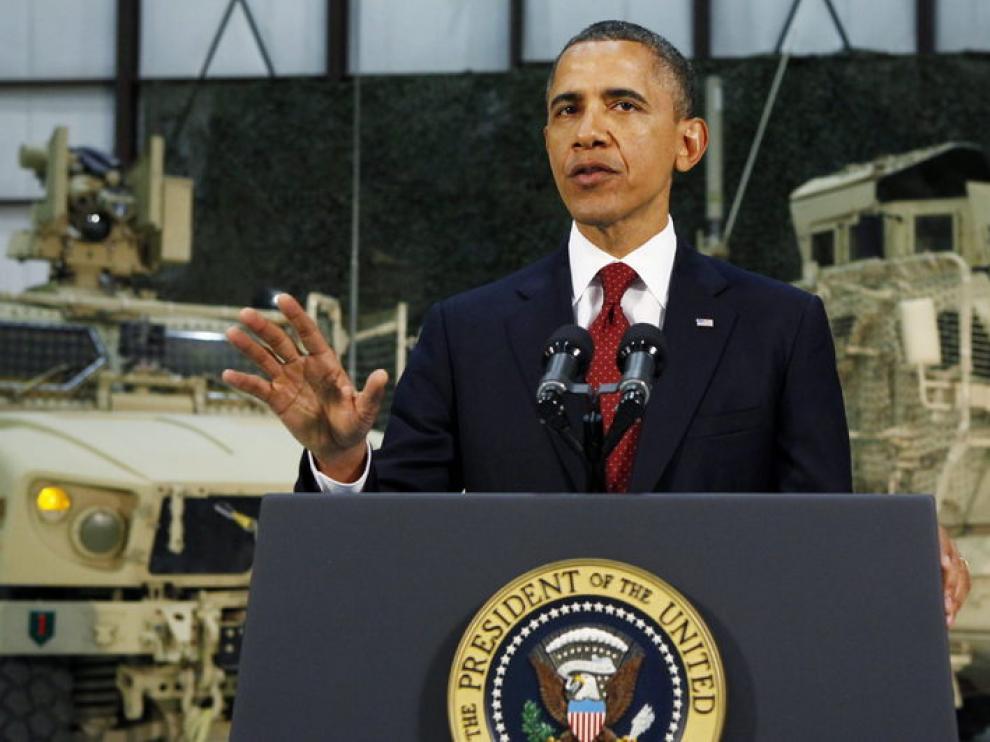 Obama durante su discurso hoy en Afganistán