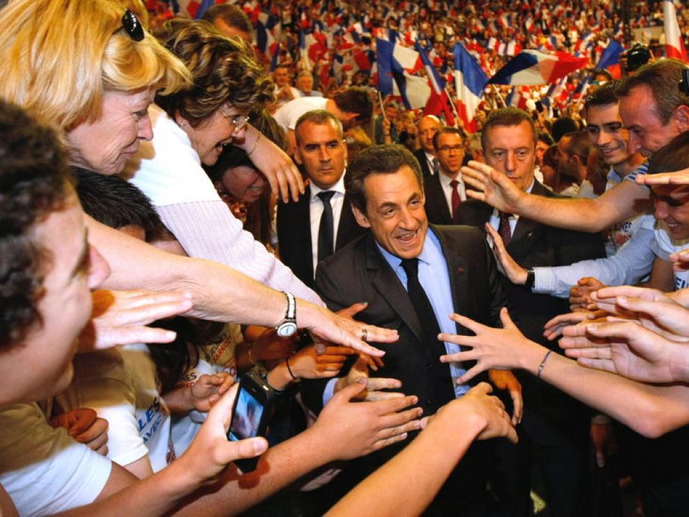 Sarkozy durante su mitin de ayer jueves