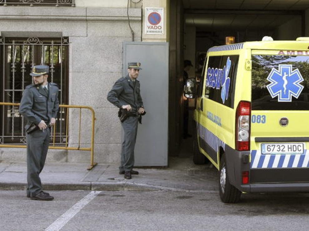 La ambulancia que ha llevado a Correa hasta los juzgados