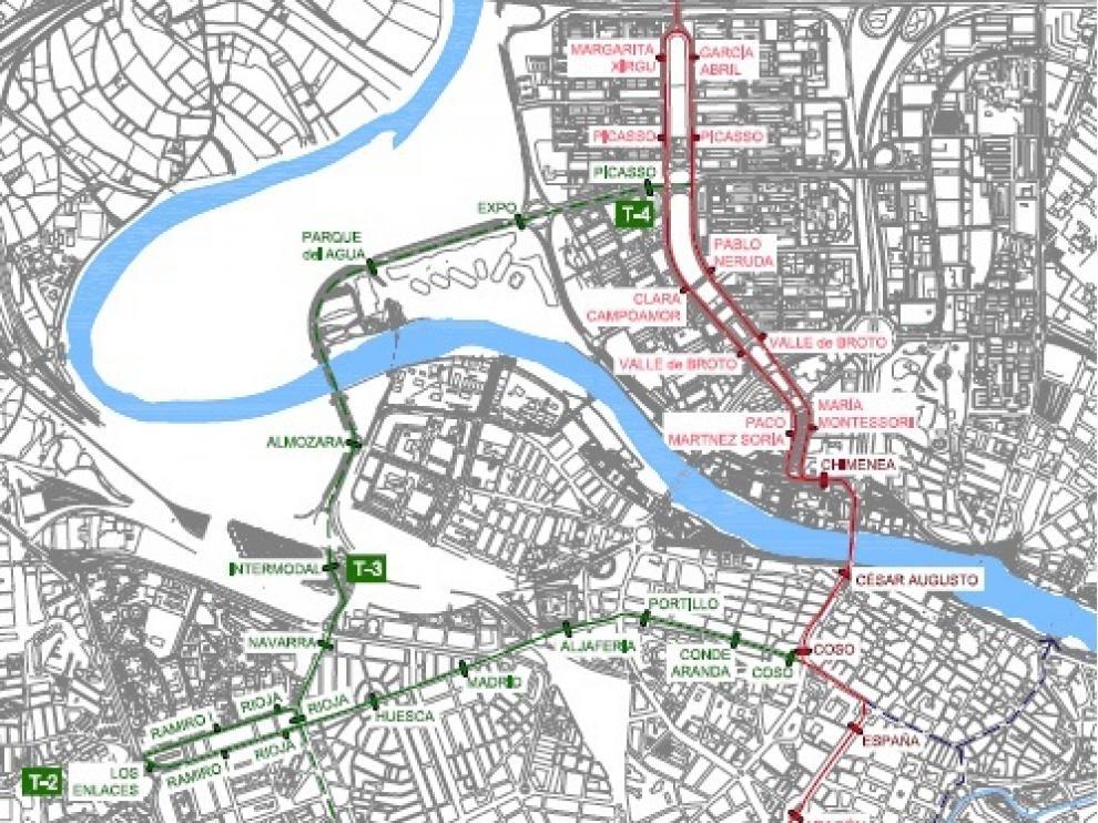 Plano de la línea II del tranvía, en verde, y el ramal de San José, en azul