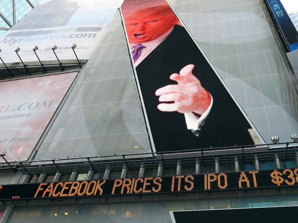 Mensaje anunciando el precio de las acciones de Facebook