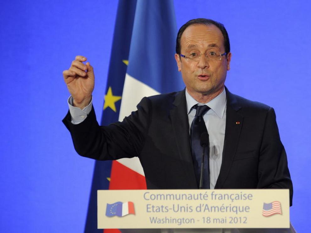 Hollande, este viernes, en la embajada francesa en Washington