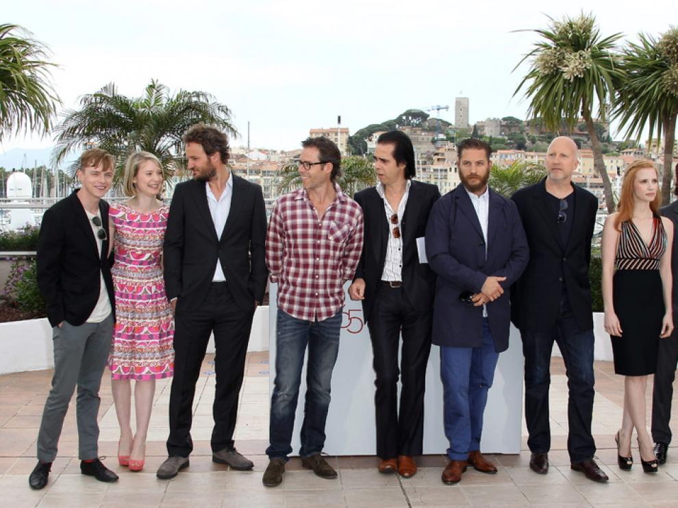 El equipo de 'Lawless', esta mañana en Cannes