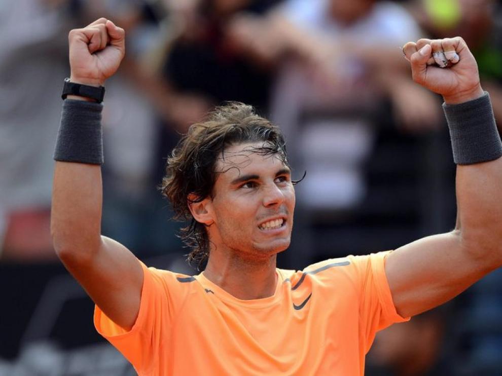 Nadal celebra su victoria sobre Ferrer