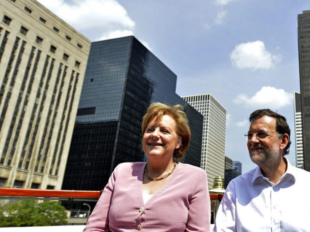 Merkel y Rajoy, durante su entrevista en Chicago
