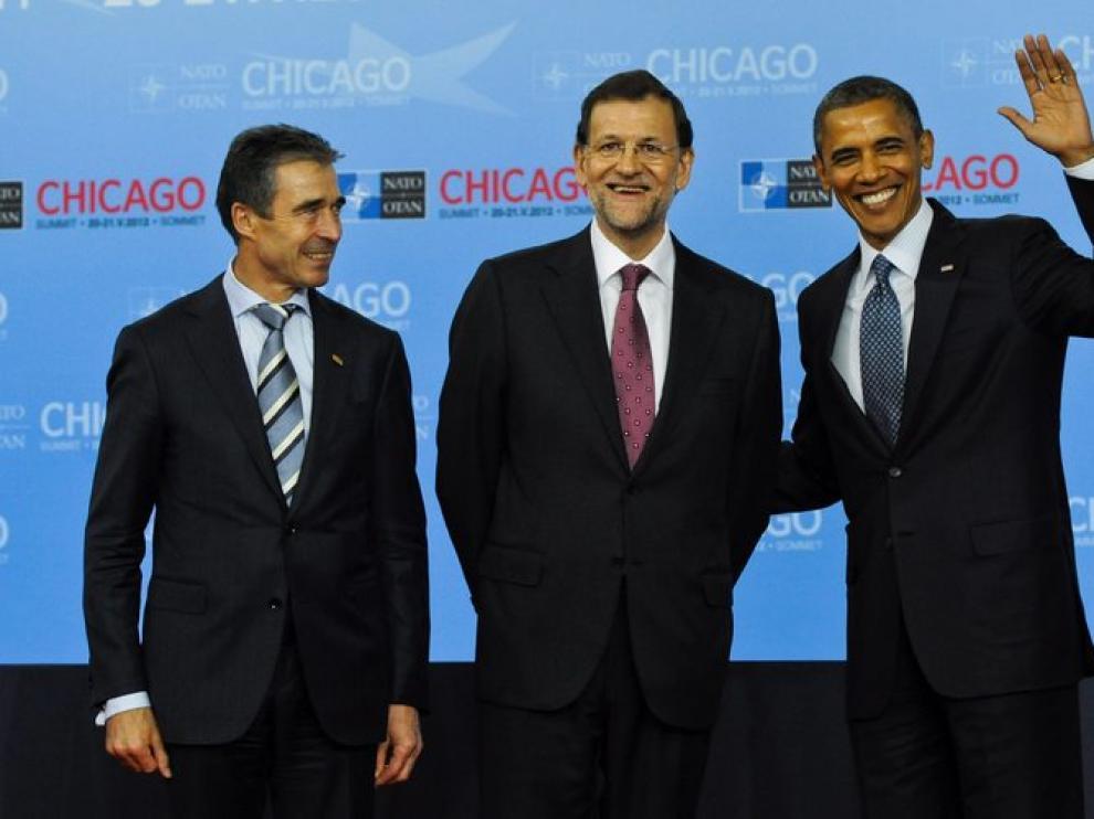 Rasmussen, Rajoy y Obama antes del inicio de la cumbre