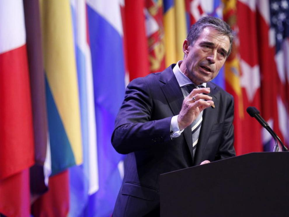 El secretario general de la OTAN Anders Fogh Rasmussen en Chicago