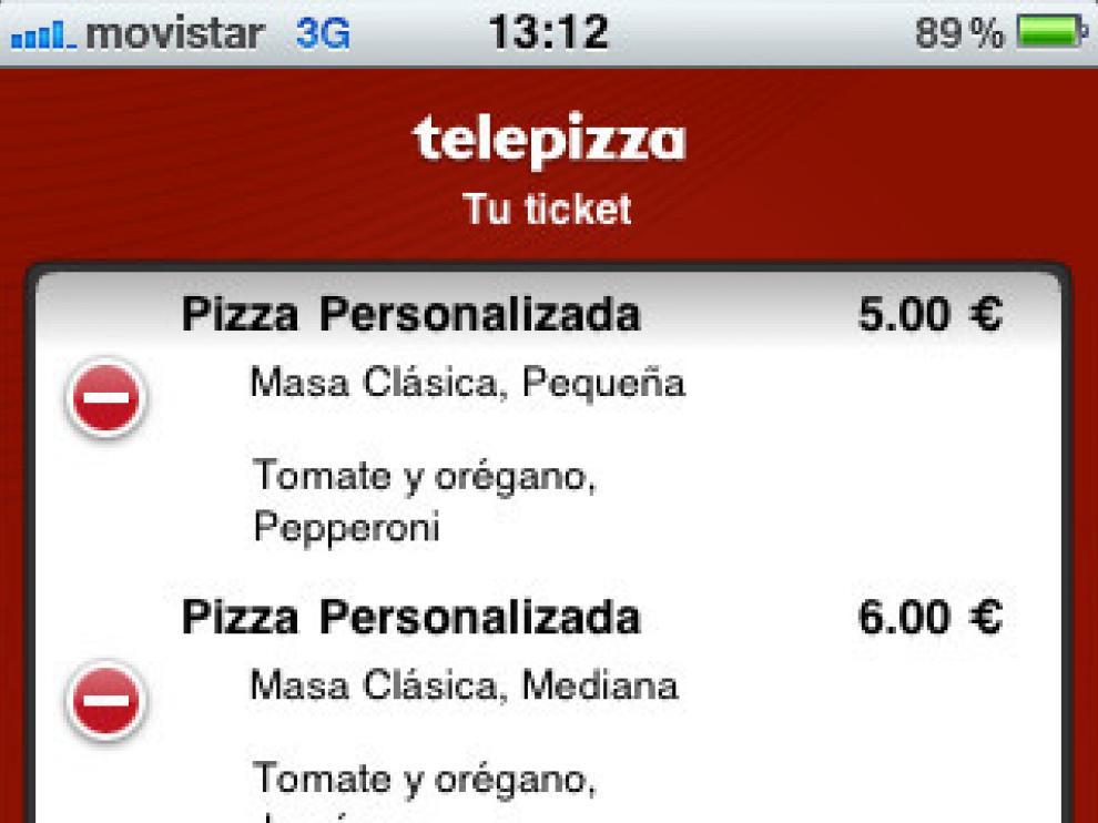A través de la aplicación se pueden elegir la pizzas