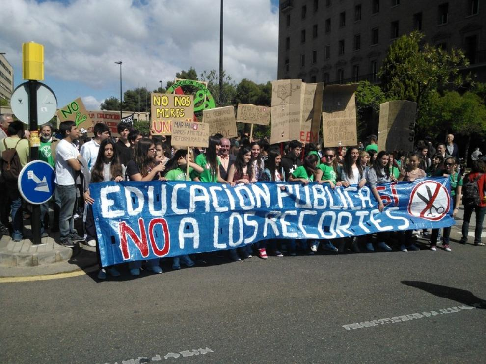 Manifestación en Zaragoza contra los recortes