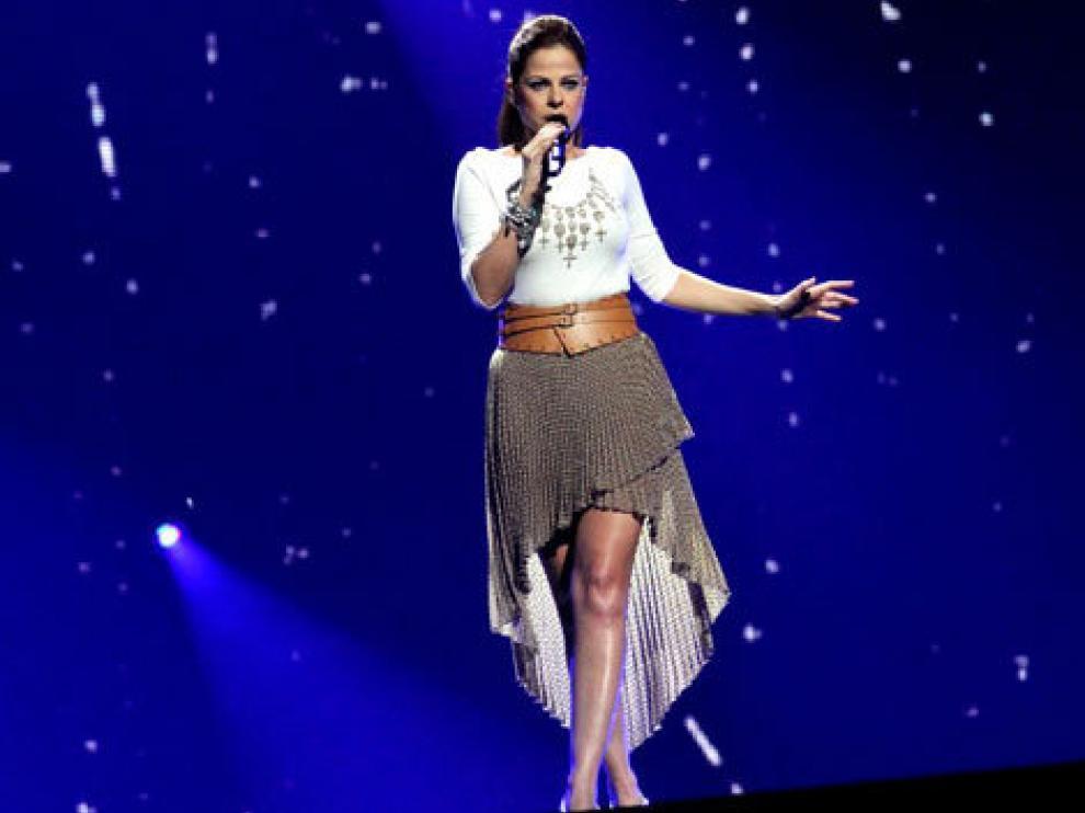 La cantante, Pastora Soler, en uno de los ensayos para representar a España en el Festival de Eurovisión de 2012.