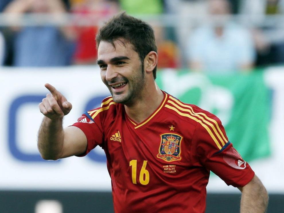 El asturiano, tras anotar su gol.