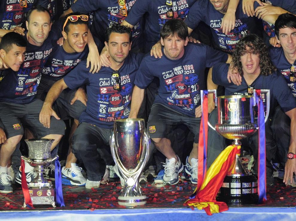 El Barcelona celebra la consecución de la Copa del Rey