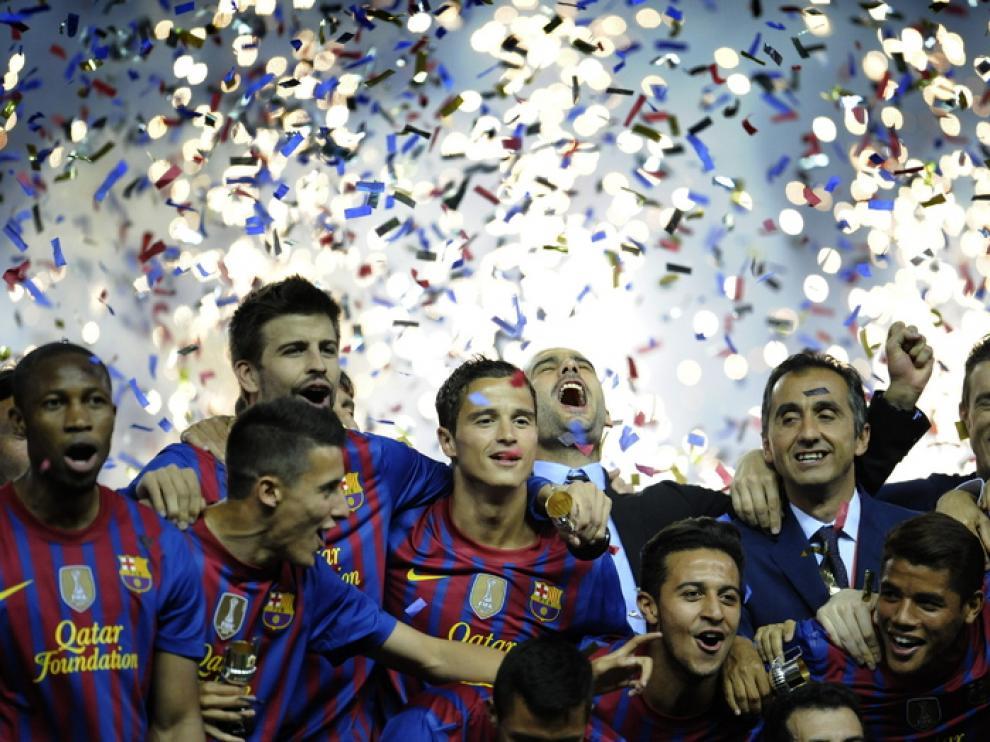 Guardiola celebra la victoria en la Copa del Rey