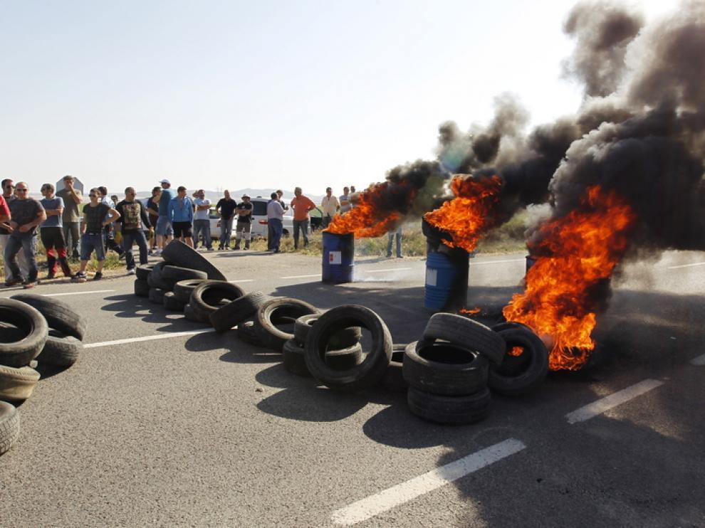 Los mineros han cortado carreteras en Teruel