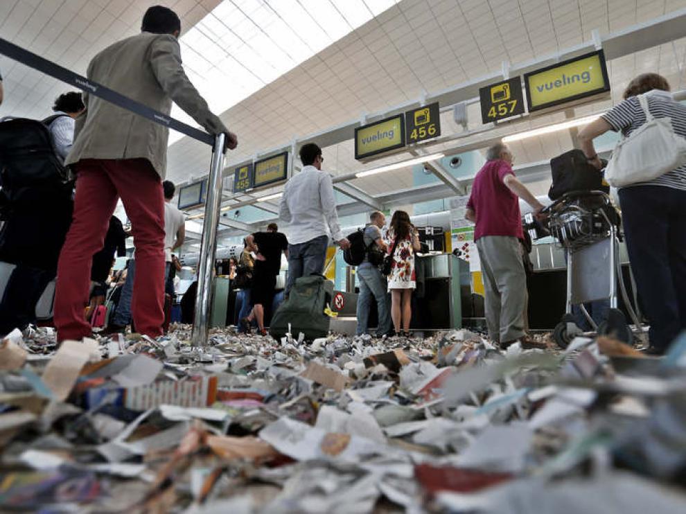 Aspecto del aeropuerto del Prat este martes