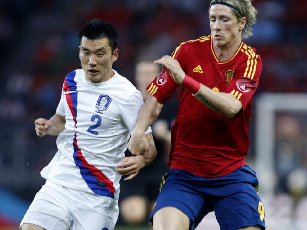 El delantero, Fernando Torres, en el partido disputado ante Corea del Sur.
