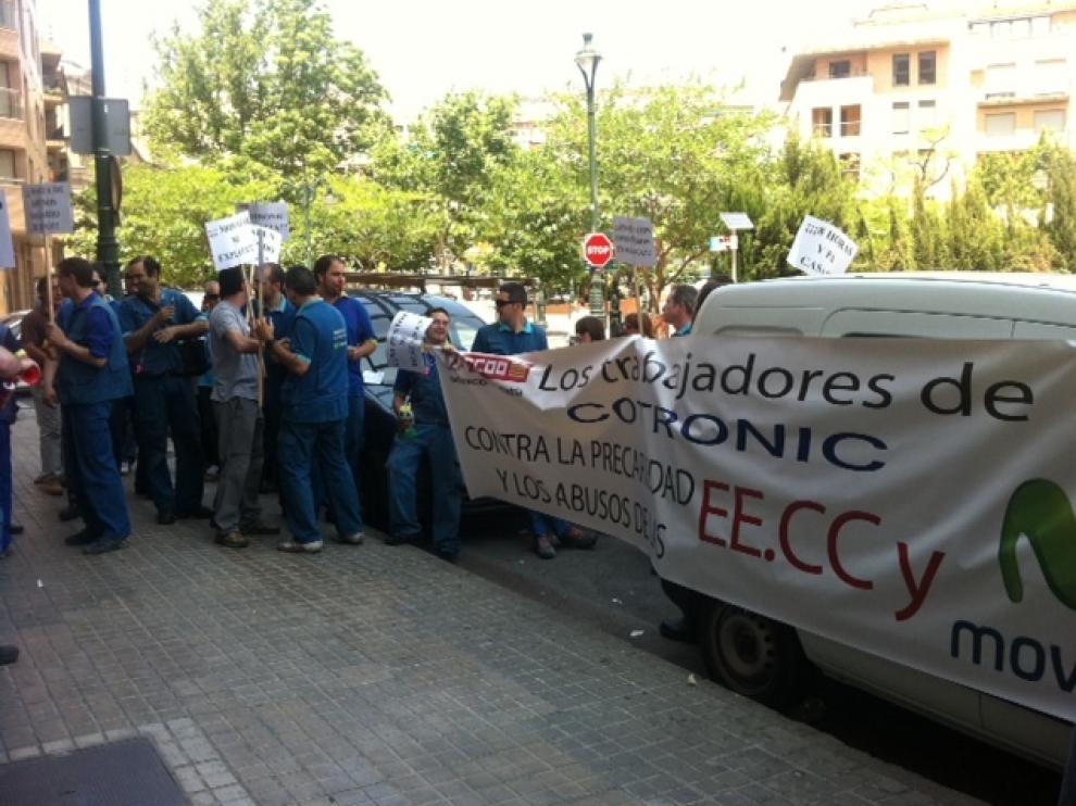 Protesta de trabajadores de Telefónica