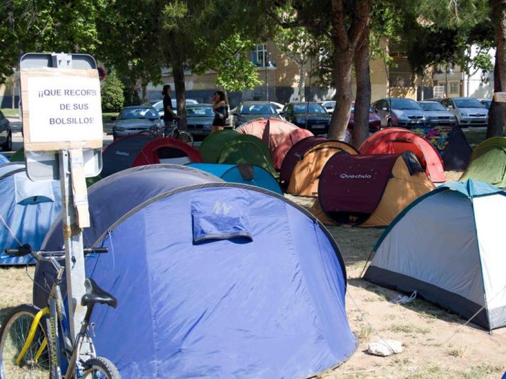 Acampados en el campus San Francisco