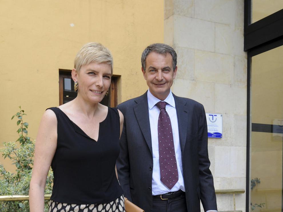 -El expresidente del Gobierno José Luis Rodriguez Zapatero acompañado de su esposa, Sonsoles Espinosa