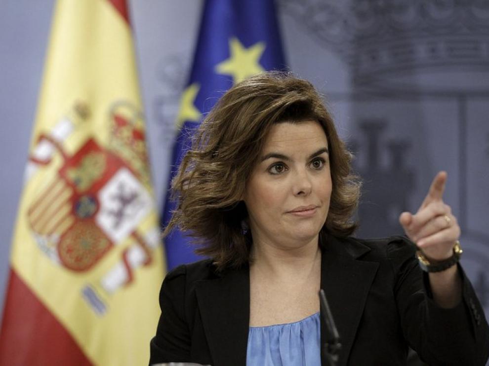 Soraya Saéz de Santamaría en su comparecencia ante los medios